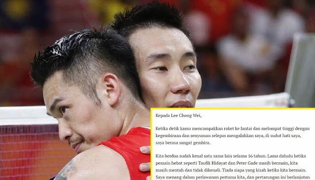 Surat luahan menyentuh hati Lin Dan kepada Chong Wei yang viral hanyalah rekaan dan imaginasi peminat   Surat luahan menyentuh hati Lin Dan kepada Chong Wei yang viral hanyalah rekaan dan imaginasi peminat  Seperti ramai sedia maklum bahawa sebelum ini tersiar di laman sosial kononnya sekeping surat yang ditulis oleh Lin Dan kepada musuh ketatnya dalam dunia bandminton Datuk Lee Chong Wei surat berkenaan telah menjadi viral meluas.  Rata-rata netizen dari Malaysia dan China menyatakan…