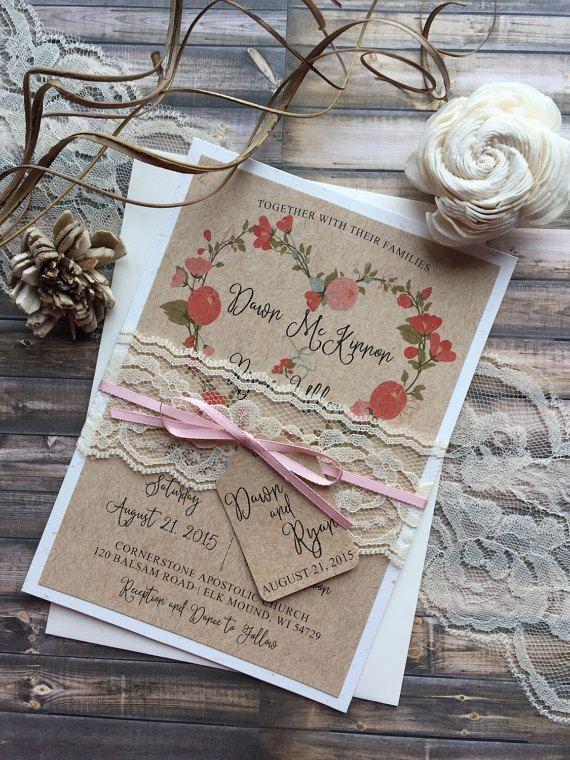 Rustic Wedding Invitation Elegant Wedding Invitation Lace