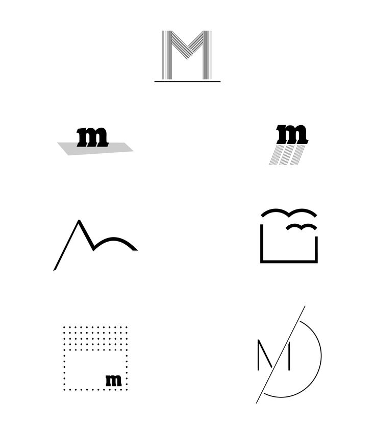"Case Study - letter ""M""  Typography Graphic Design Black and White Art"