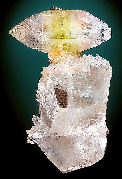 Apophyllite on transparent Calcite crystals: Minerals Stones, Crystals Minerals, North Maharashtra, Transparent Calcit, Crystals Healing, Apophyllit Perch, Calcit Crystals, Atop Transparent, Minerals Collection