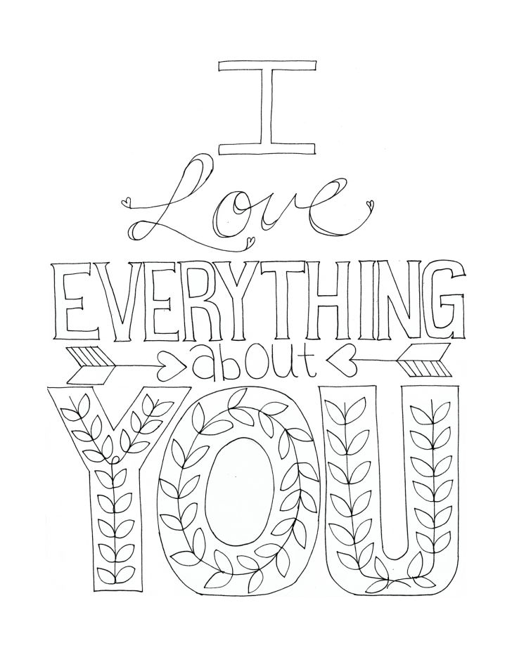 I Love You Coloring Pages Pdf : I love everything about you printable color able card