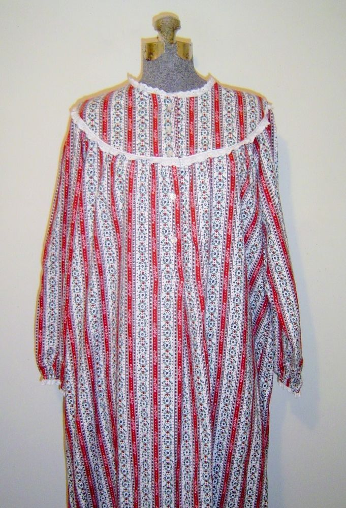 7929767ad87 Lanz of Salzburg Red Cotton Flannel Long Tyrolean Nightgown Size Medium   fashion  clothing