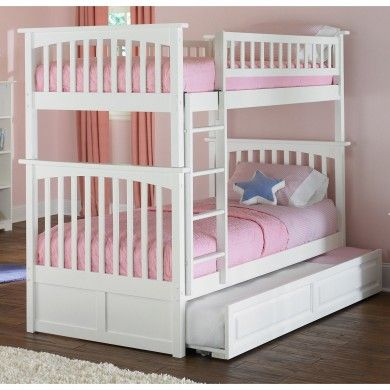 White Columbia Twin Over Bunk Bed With Raised Panel Trundle Contemporary Kids Beds