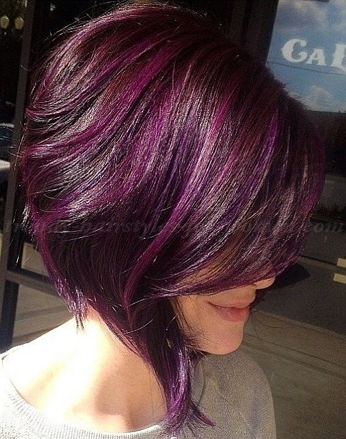 Asymmetrical purple hair. I could never go purple, I just really like this cut.