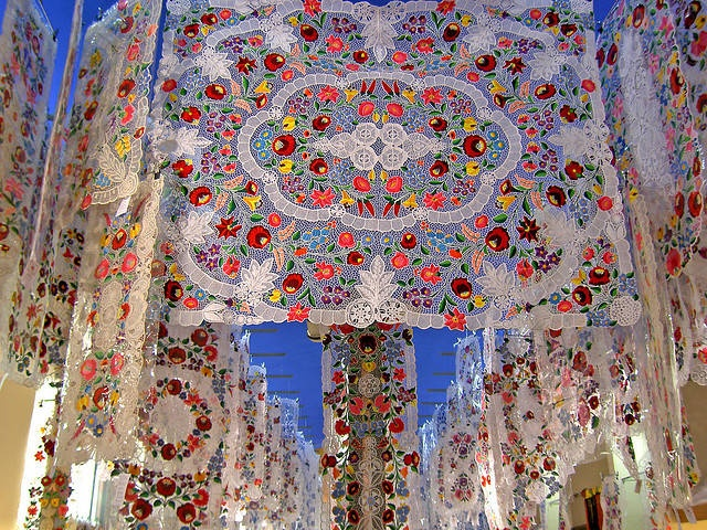 Absolutely gorgeous Hungarian embroidered tablecloths.