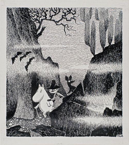 Tove Jansson. Original illustration for Kometjakten (Comet in Moominland). 1946