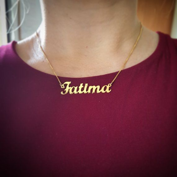 9e3a6f46d800f 14k Gold Fatima Arabic Name Necklace (Personalized) in 2019 ...