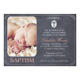 Girls Chalkboard Baptism invitation