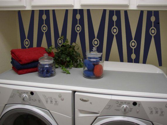 Easy, inexpensive way to jazz up laundry closet: Clothespins Decals, Vinyls Decals, Clothespins Vinyls, Laundry Rooms, Vinyls Wall Decals, Vinyl Wall Decals, Clothing Pin, Clothespins Art, Laundryroom