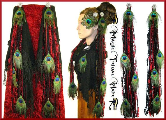 """belly dance PEACOCK FEATHER hip & hair TASSELS yarn hair falls """"Red Passion"""" Tribal Fusion hip scarf Fantasy reenactment Burlesque accessory..."""