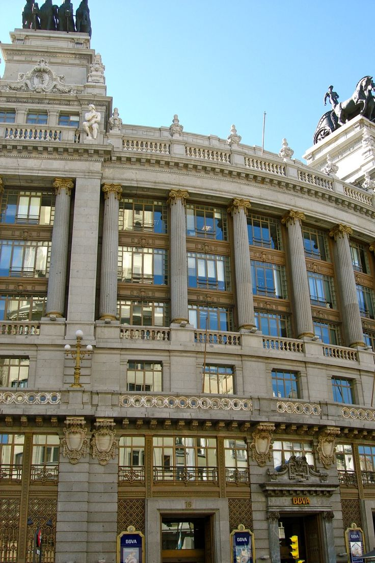 Madrid, Spain. The building of the Banco de Bilbao (now integrated into the BBVA bank) is at No. 16 on the street of Alcala.