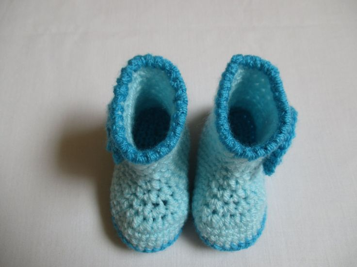 Turquoise Crochet Baby Boy Booties by ZsuzsaBoutique on Etsy