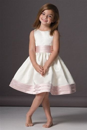 pleatd bands sleeveless duchess flower girl dresses