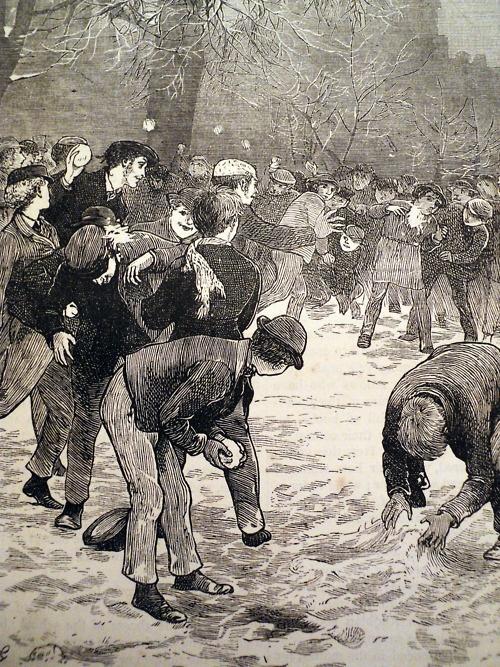 """A schoolboy snowball fight  Cassells magazine 1871."""
