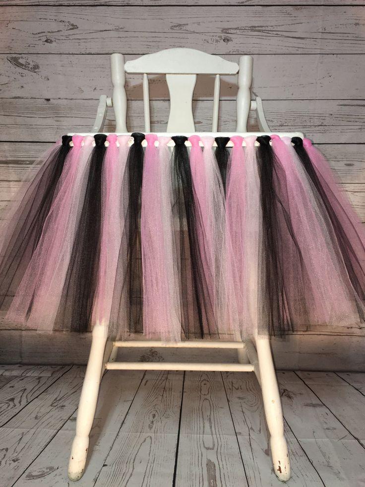 Pink and Black High Chair Tutu- High Chair Skirt- Highchair tutu- Highchair skirt- Pink and Black 1st Birthday- High Chair Tutu- Will Custom by AvaryMaeInspirations on Etsy
