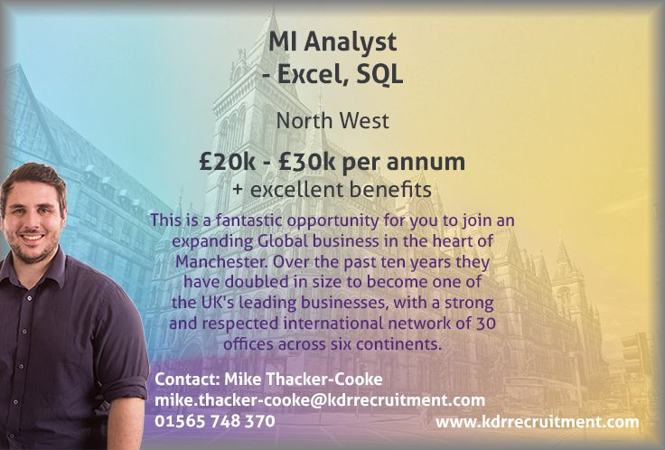 New Job: MI Analyst - Excel, SQL needed in the North West. To find out more contact Mike at mike.thacker-cooke@kdrrecruitment.com / 01565 748 370 or apply online today!