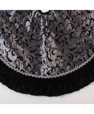 black flocked silk tree skirt w ruffle my tree skirt from dining room tree last - Silver Christmas Tree Skirt