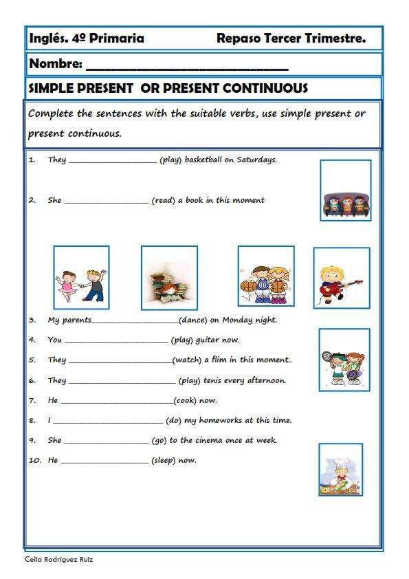 Fichas inglés cuarto primaria. Niños de 9-10 años | 4° grade ...