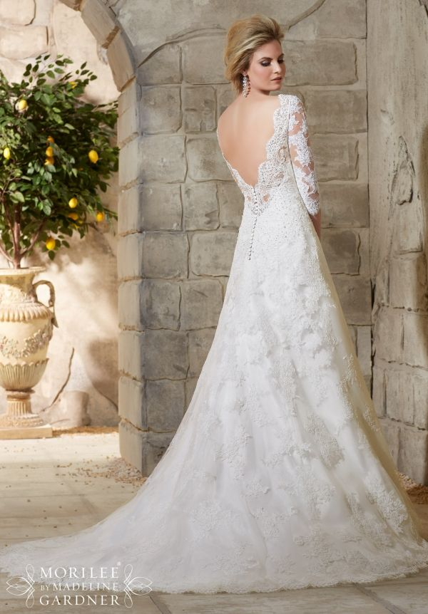 Wedding dress 2776 allover alencon lace gown with delicate for Robe encolure bateau