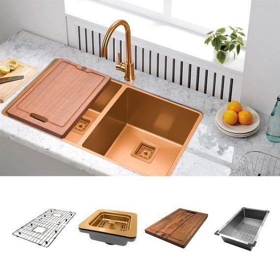 Copper Kitchen Sink Square Drain Double Bowl Rose Gold Stainless
