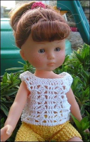 Bonjour, J'ai envie de vous faire un cadeau aujourd'hui, enfin pour celles qui ont une poupée Chérie ... J'ai réalisé un petit débardeur hier dont je vous offre avec plaisir les explications .... Débardeur blanc Fil de coton - crochet 1,75 Devant : Monter...