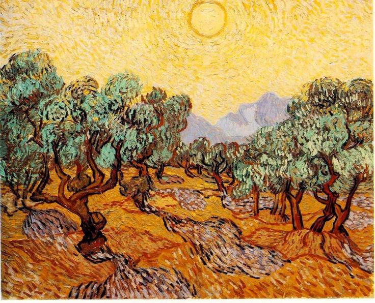 """Vincent van Gogh, """"Ulivi con cielo giallo e sole"""" – """"Oliviers avec ciel jaune et soleil"""" (1889) Minneapolis Institute of Arts. - 92,7 x 73,7 cm – Olio su tela"""