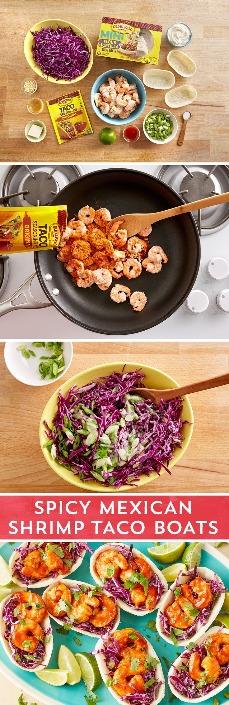 Fresh, bright, sweet and hot – this meal packs everything you love about summer into one taco boat! A beautiful purple cabbage slaw creates a slightly sweet bed for the shrimp sautéed with Old El Paso™ taco seasoning. Served in Old El Paso™ Mini Taco Boats these are perfect for any gathering.