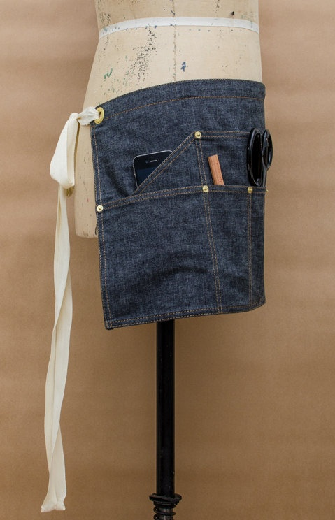 A slanted side pocket for ease of access.....Utility Chambray Waist Apron by BLACKHOUSEPROJECT