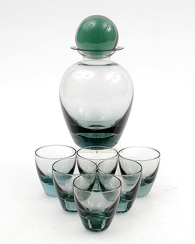 Staalblauw glazen likeurset Rondo met 6 glaasjes ontwerp A.D.Copier 1935 uitvoering Glasfabriek Leerdam na 1948