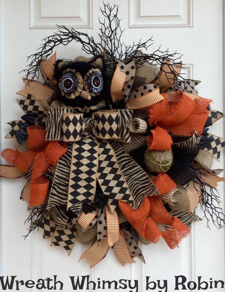 Fall Rustic Burlap Mesh Owl Wreath, Halloween Wreath, Owl Decor, Black Tan Orange Wreath, Natural Owl Wreath, Harlequin Owl by…