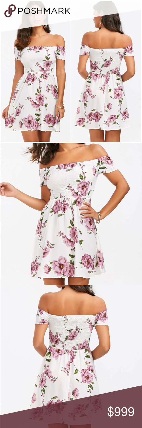 🔷COMING SOON🔷 Floral A-Line Skater Dress title:	Product Details Style:	Cute Material:	Polyester Silhouette:	A-Line Dresses Length:	Mini Neckline:	Off The Shoulder Sleeve Length:	Short Sleeves Pattern Type:	Floral With Belt:	No Season:	Summer Weight:	0.2200kg Package Contents:	1 x Dress.                                                   Size 6 Dresses Mini