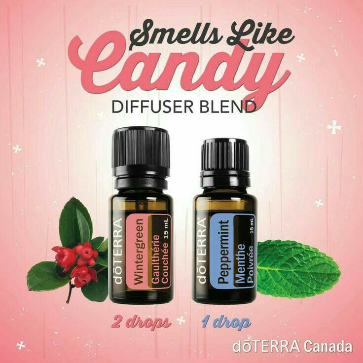 How to make a diffuser blend that smells like candy.  Use 2 drops of Wintergreen and 2 drops of peppermint essential oils.