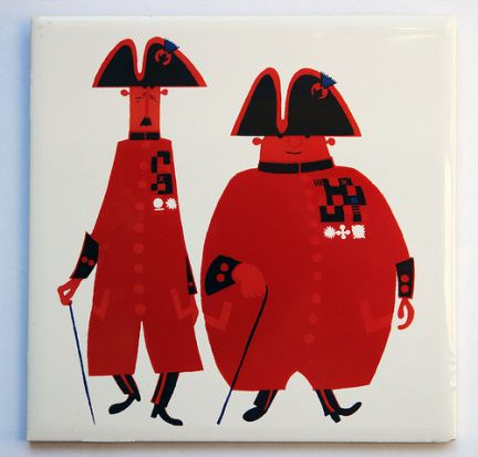 'Chelsea Pensioners in  Red Uniform'  a fantastic well repeseted graphic, love it! / #London