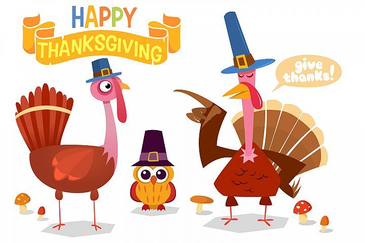 Thanksgiving Day Turkeys Cartoon Vector Illustration 488308 Illustrations Design Bundles Turkey Cartoon Cartoons Vector Vector Illustration