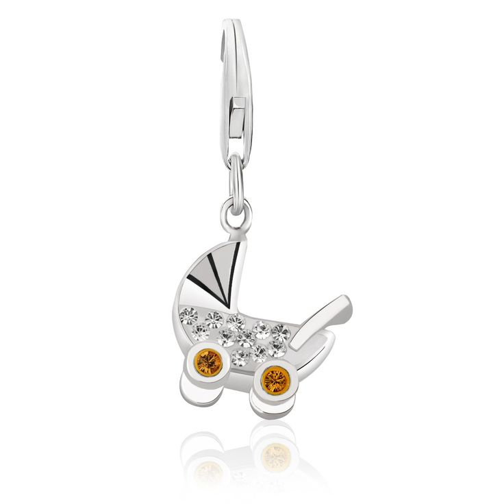 Sterling Silver Baby Stroller Charm with White and Citrine Tone Crystal Accents