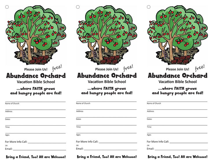 Door Hangers - Spread the word! Invite everyone to your VBS! Add your info & copy pattern onto cardstock. Cut apart & punch hole where indicated. Loop rubberband through hole and hang on doors of homes throughout your community.