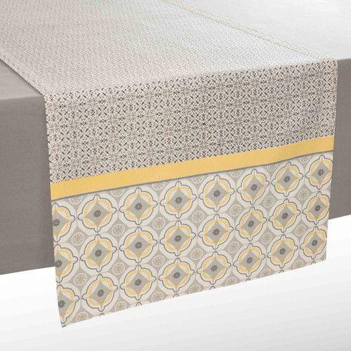 Chemin de table en coton gris/jaune L 150 cm VIZELA