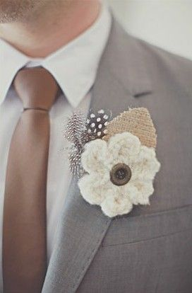 Crocheted Boutonniere!   Wedding Boutonniere Ideas & DIY Tips   Estate Weddings and Events