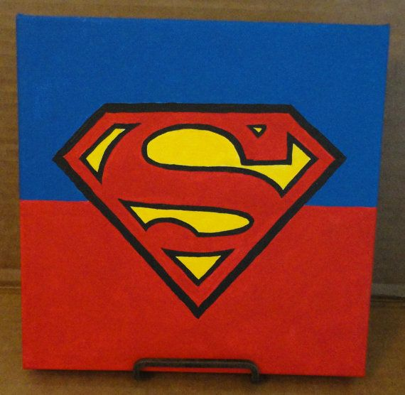 Minimalist Superman Acrylic On 8x8 Canvas 8x8 Dc