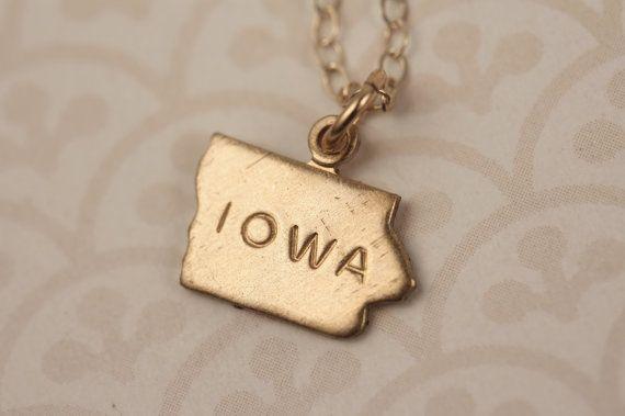 Small Gold Iowa State Charm Necklace Miniature Brass by FreshyFig, $19.00