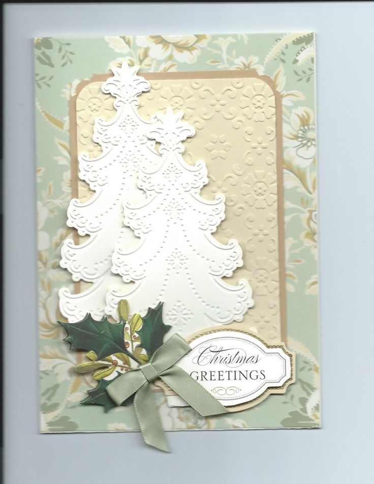 Christmas Card made with Anna Griffin paper, embossing folder & tree die. By Sandi Beecher