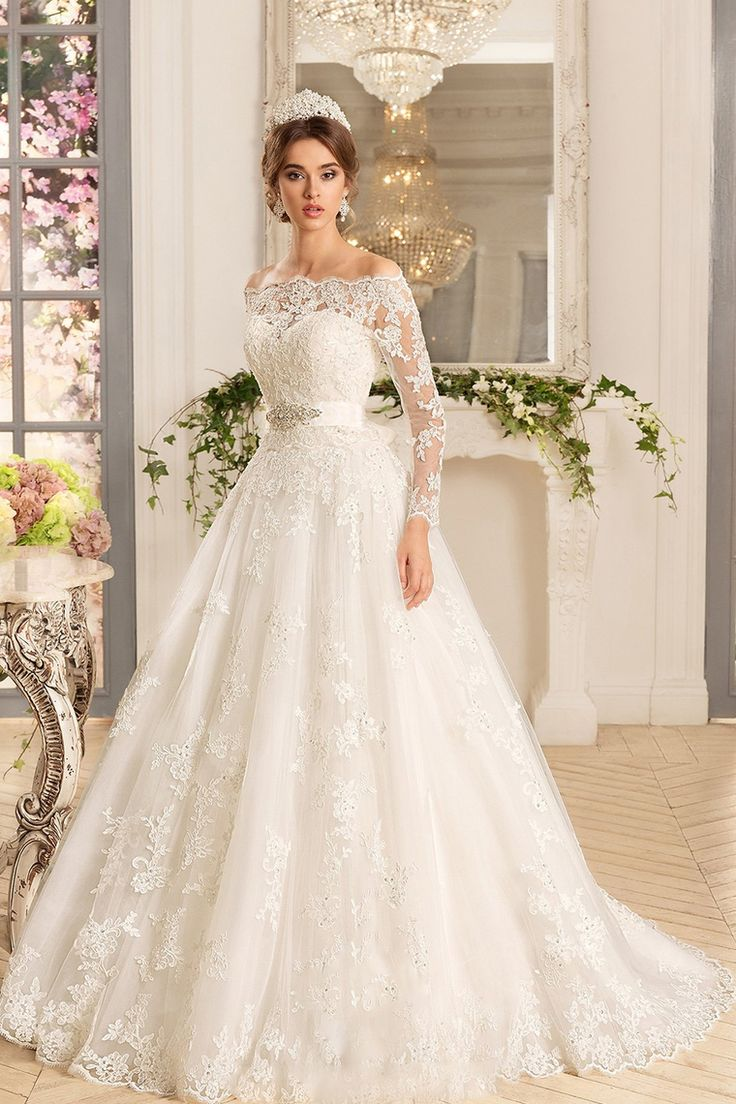 2019 A Line Boat Neck Long Sleeves Wedding Dresses Tulle With Applique And Sash …
