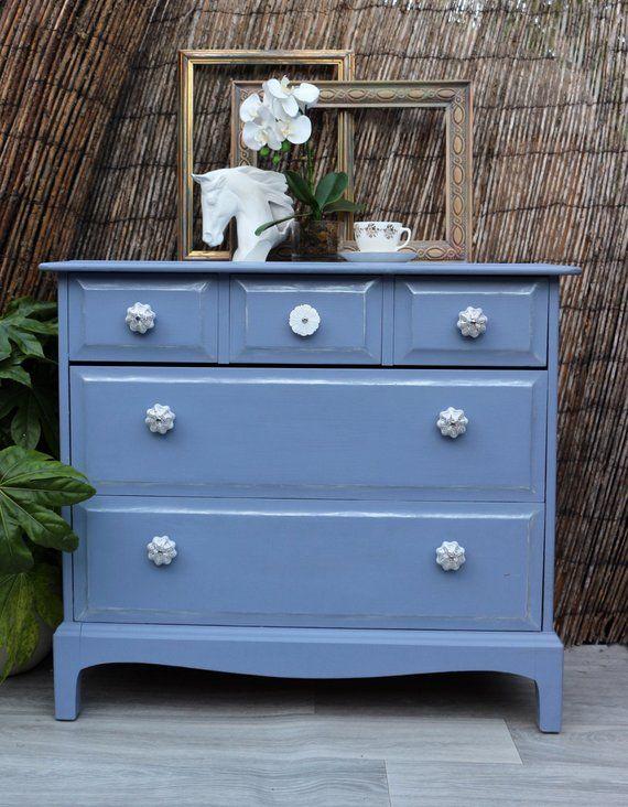 Lila Geschilderde Vintage Meubels Upcycled 3 Over 2 Commode Met Spiegel Vintage Furniture Creative Furniture Furniture
