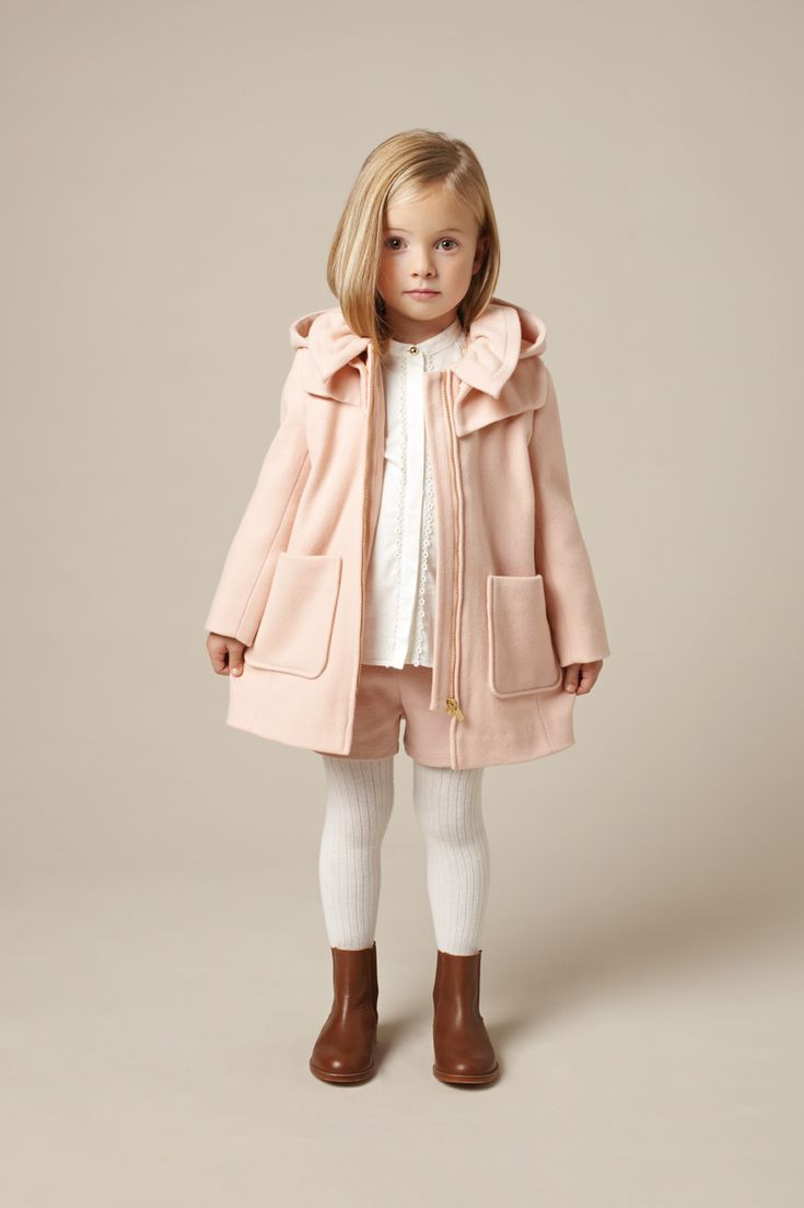 Classic Chloe kidswear styling, pastel pink winter warm duffle coat for fall 2015