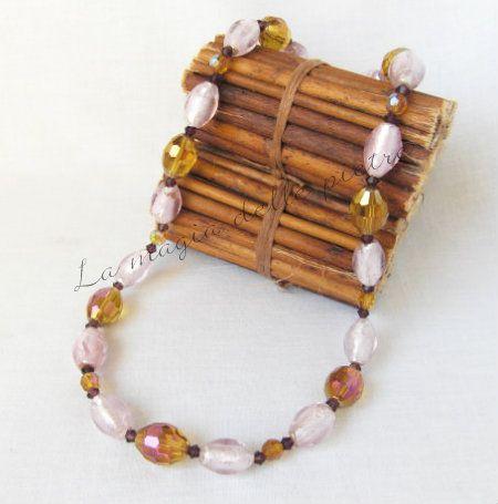 Girocollo perle di vetro veneziano e cristallo | La magia delle pietre #girocollo #collier #necklace #murano #perle #perles #pearls #cristallo #crystals #cristaux #beads #handmade #bijoux
