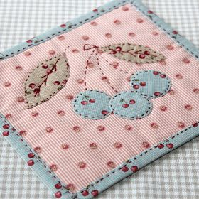 sweet mug rug idea...how about a little pocket for the tea bag or biscuit...cute