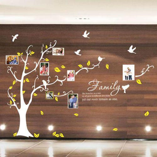 Famiglia-Albero-Uccellini-Cornice-Foto-Citazioni-Albero-Muro