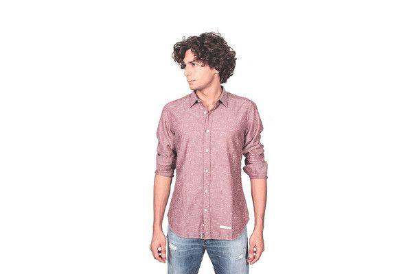 Camicia flanella bottonata spinata bordò
