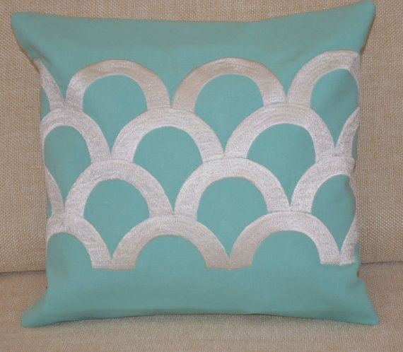 Sea Waves Teal Cushion Cover Teal Pillow with Ivory by AmoreBeaute