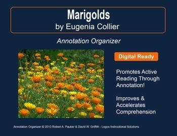 marigolds by eugenia w collier annotation organizer reading   marigolds by eugenia w collier annotation organizer reading comprehension marigold and teacher pay teachers